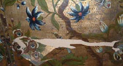 painted screen before conservation and restoration