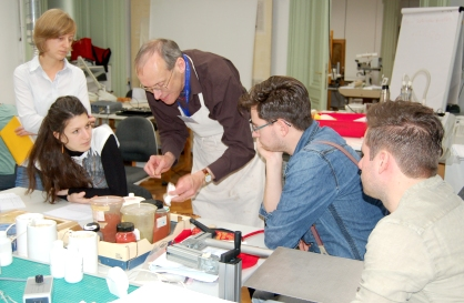 Theo Sturge teaching leather conservation and resotoration in Vienna